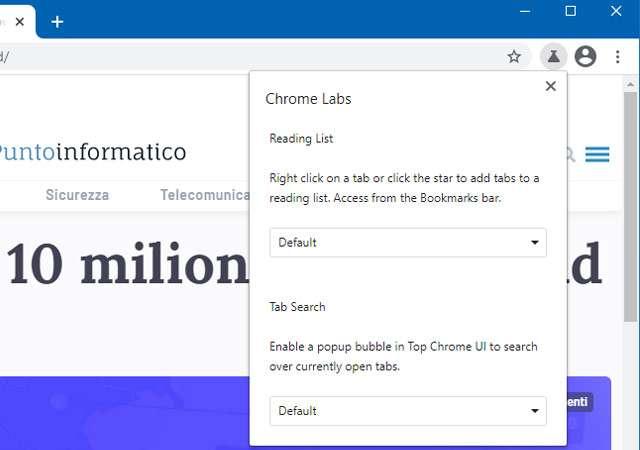 Chrome: l'icona Labs per l'accesso rapido alle funzionalità sperimentali