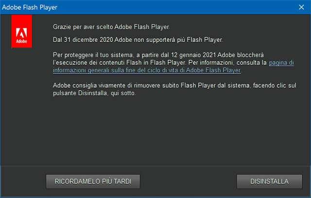 Il messaggio mostrato da Windows 10 per la disinstallazione di Flash