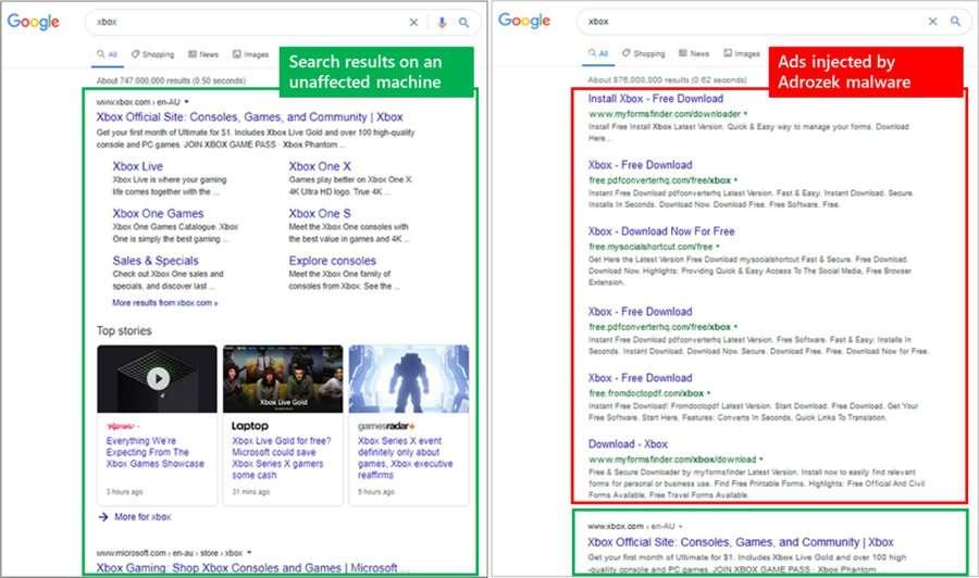 Effetti di Adrozek sul browser