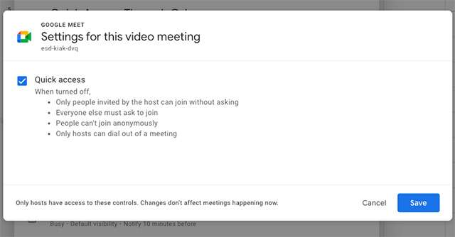 Google Meet: Quick Access in Calendar
