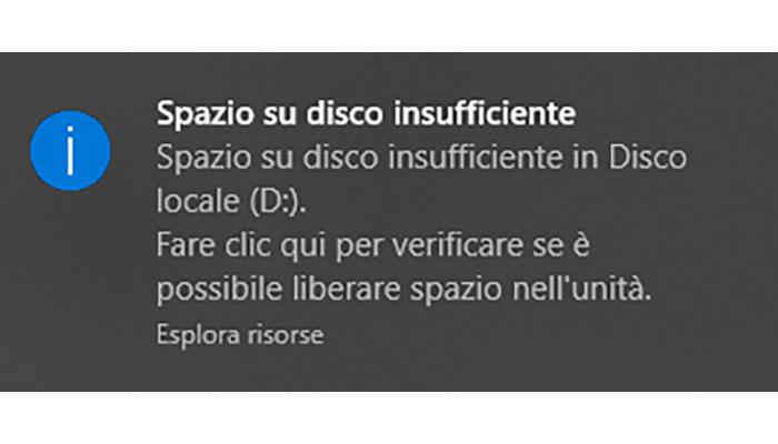 spazio su disco insufficiente