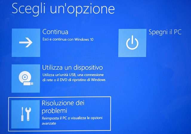 La Console di Ripristino di Windows 10
