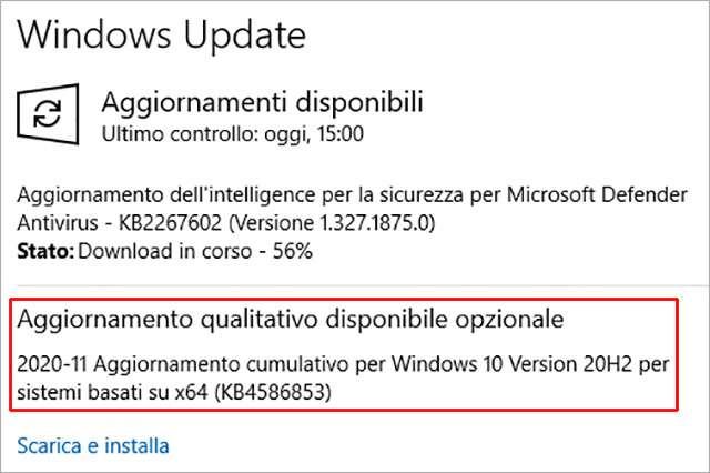 Windows 10: l'aggiornamento KB4586853
