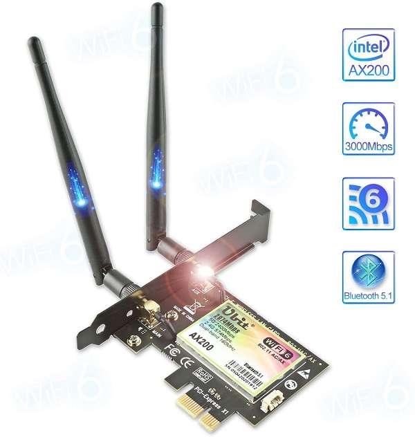 Scheda di rete PCIe Wi-Fi 6 Ubit - 1