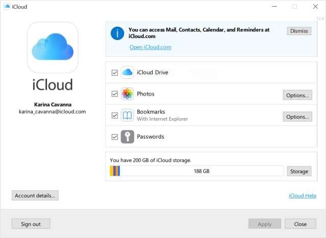 Apple iCloud per Windows