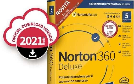 Norton 360 Deluxe 2021, sconto del 58% su Amazon