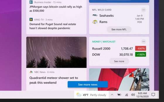 Windows 10, un news feed nella taskbar