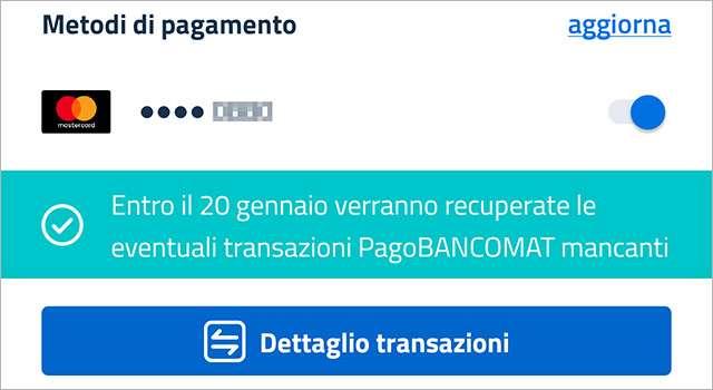 Cashback di Stato: l'avviso di IO sulle transazioni PagoBANCOMAT