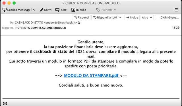 L'email che circola in merito al presunto modulo da compilare per ricevere il Cashback di Stato