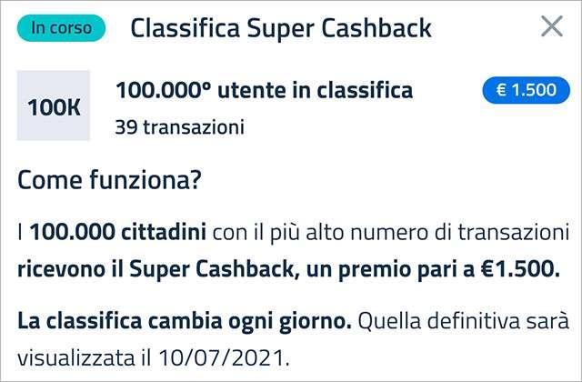 Super Cashback: la classifica aggiornata al 28 gennaio 2021 e il numero minimo di transazioni necessario per accedere al bonus