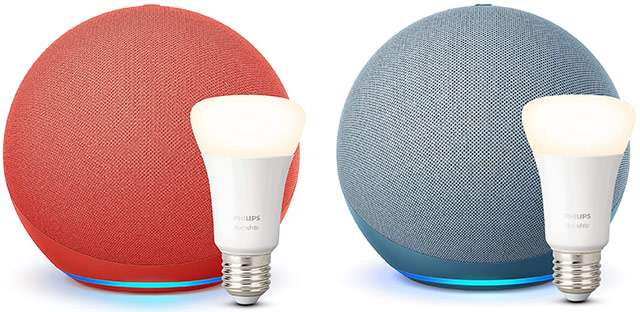 Lo smart speaker Amazon Echo con Alexa e la lampadina Philips Hue in un solo bundle