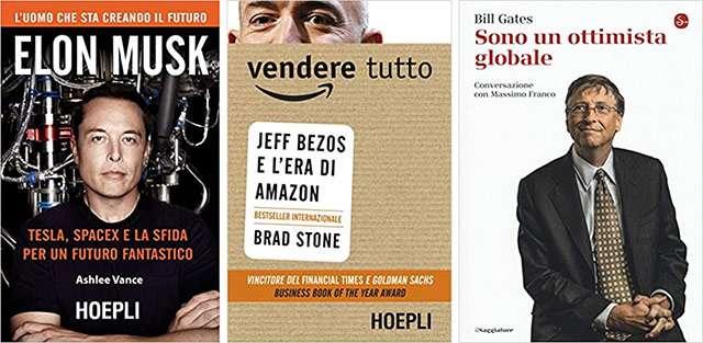 I libri su Elon Musk, Jeff Bezos e Bill Gates