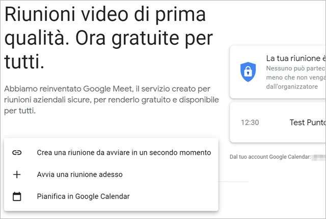 Google Meet: nuove opzioni per la creazione di una nuova riunione