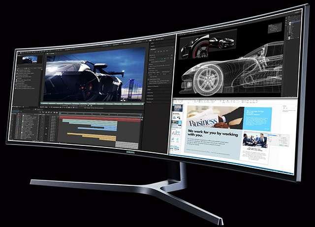 Il monitor Samsung C49HG90 da 49 pollici con aspect ratio 32:9 e pannello curvo
