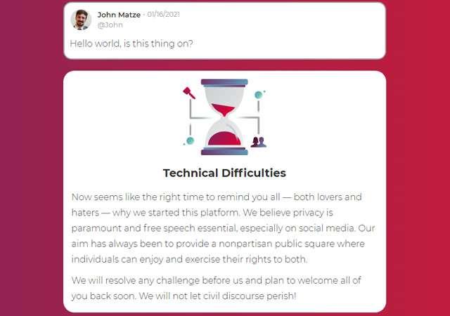 Il messaggio del CEO di Parler sulla nuova homepage del sito ufficiale