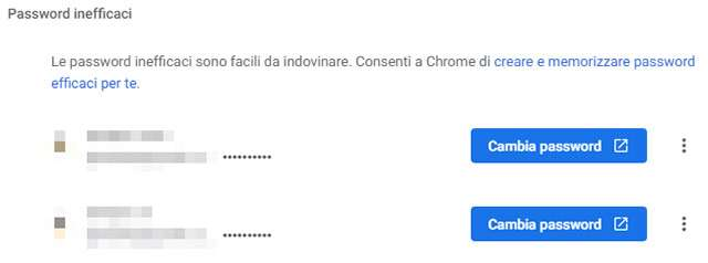 Chrome 88 segnala le password inefficaci