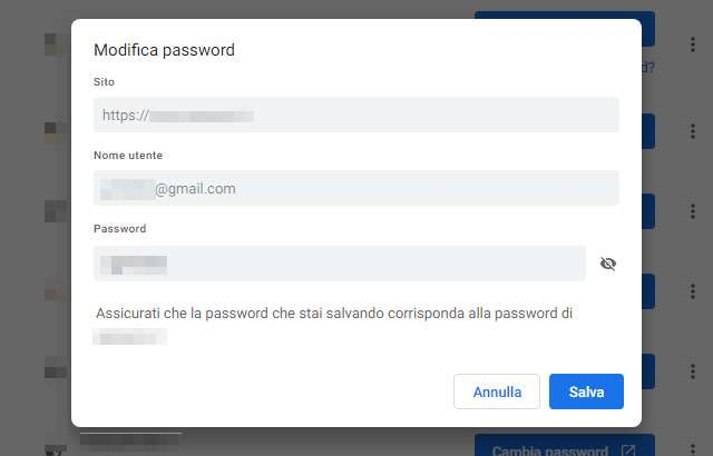 Il modulo per l'editing delle password salvate in Chrome