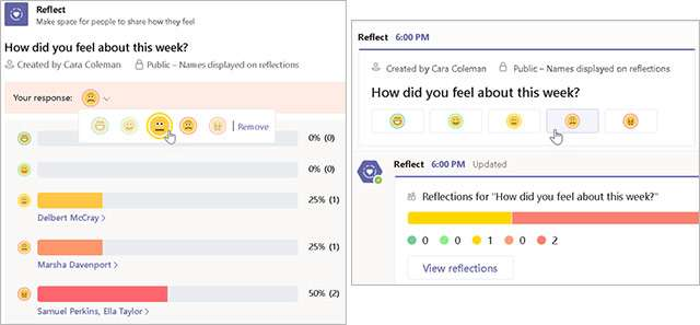 L'app Reflect integrata in Microsoft Teams
