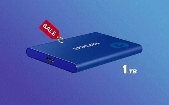 Samsung T7: SSD Esterno da 1TB scontato di 84 euro