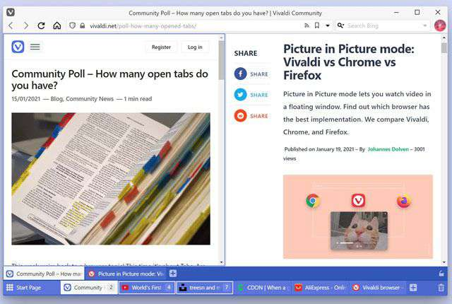 Vivaldi browser: Two-Level Tab Stacks