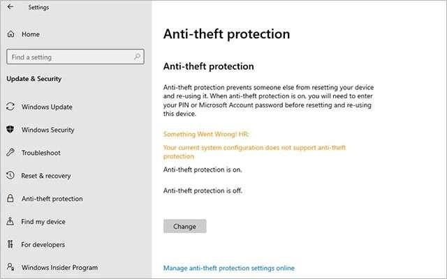 La funzionalità Anti-Theft Protection di Windows 10X