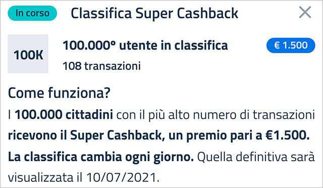 Super Cashback: la classifica aggiornata a venerdì 26 febbraio 2021 con il numero minimo di transazioni necessario per accedere al bonus