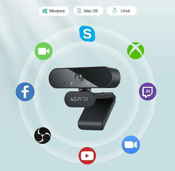 Webcam AGPTek Web Camera 1080p - 1