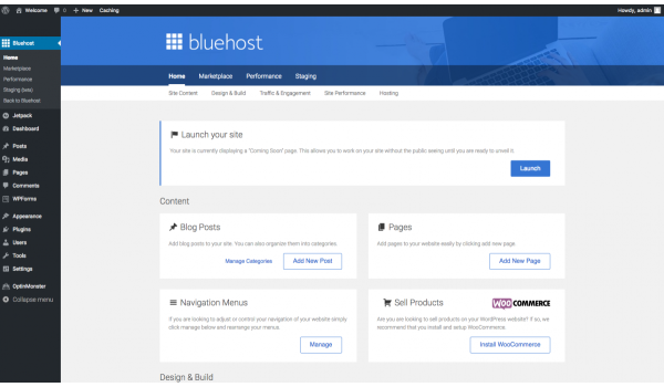 Bluehost: pannello di controllo