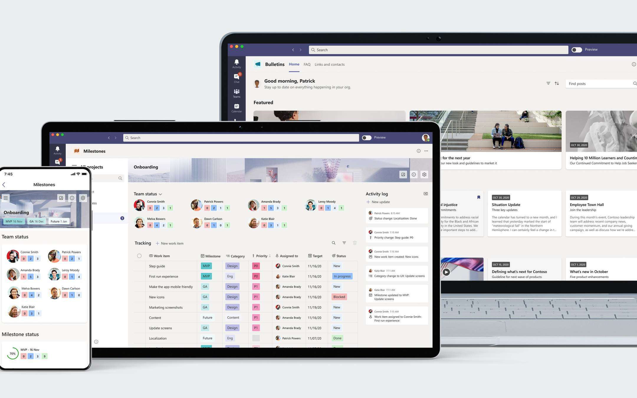 Microsoft Teams: new Bulletins and Milestones apps