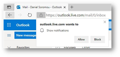 Richiesta di notifica in Edge