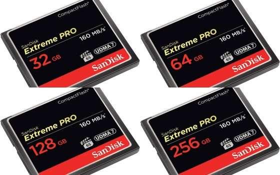 SanDisk Extreme Pro CompactFlash: 4 tagli di memoria, 4 offerte TOP