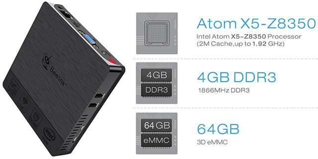 Beelink BT3 PRO II, Mini PC con processore Intel Atom X5-Z8350