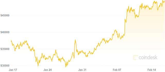 La variazione del valore di Bitcoin nell'ultimo mese (16 febbraio 2021)