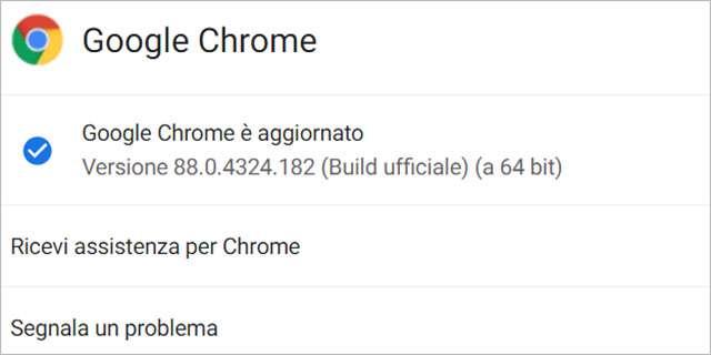 L'aggiornamento alla versione 88.0.4324.182 del browser Chrome