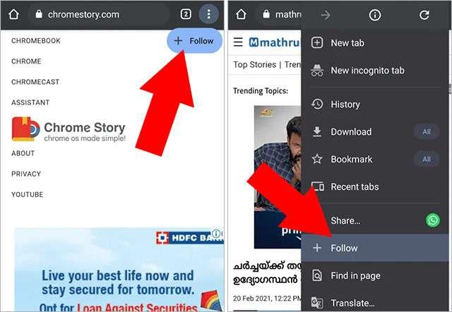 Il pulsante Follow su Chrome Canary per Android