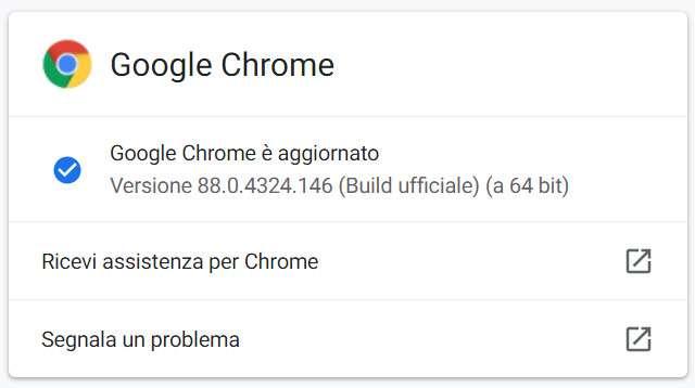 Il browser Chrome di Google aggiornato alla versione 88.0.4324.146 su piattaforme desktop