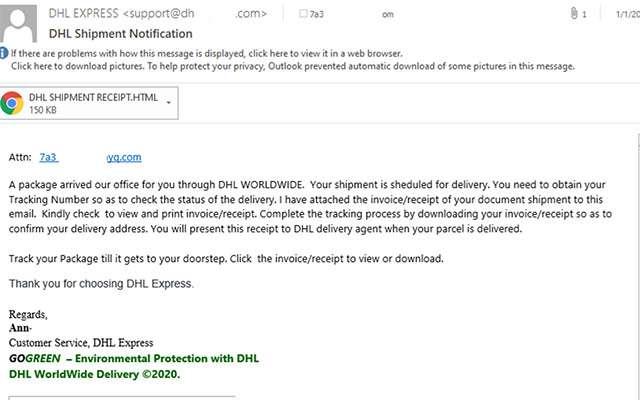 Un'email di phishing che simula una comunicazione da DHL