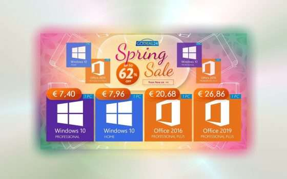 15€ Office, 7€ Windows 10: sconti di primavera su GoDeal24
