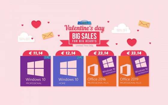 Office a 15€, Windows 10 a 5€: GoDeal24 per San Valentino