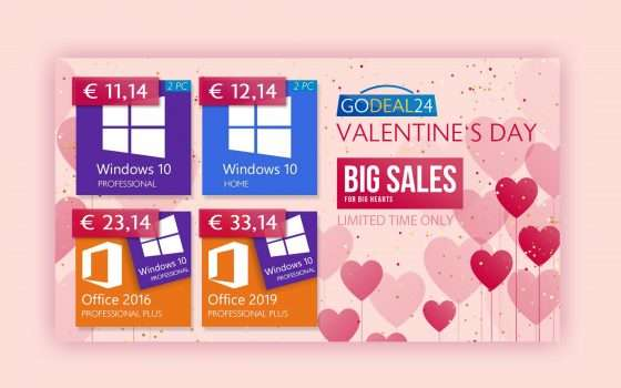 GoDeal24 vi ama: offerte Office e Windows di San Valentino