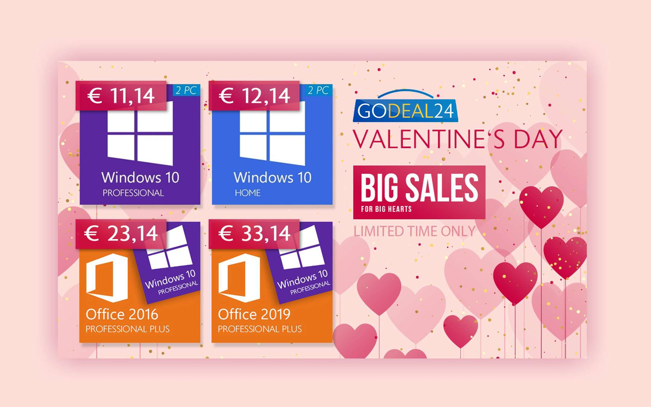 GoDeal24 loves you: Valentine's Office and Windows offers