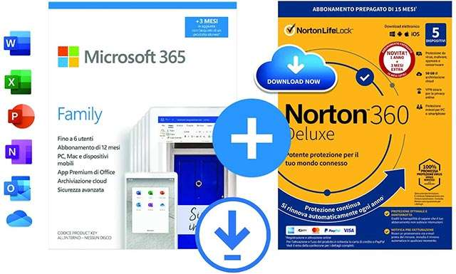 Microsoft 365 Family e Norton 360 Deluxe insieme, in offerta su Amazon