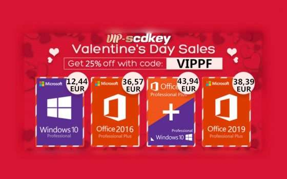 San Valentino con VIP-scdkey: Windows 10 PRO a 12€