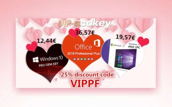 San Valentino SCDkey: Windows 10 Pro 12€, Office 2019 36€
