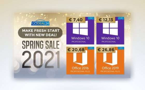Windows 10 a 7€, Office a 15€: sconti di primavera GoDeal24