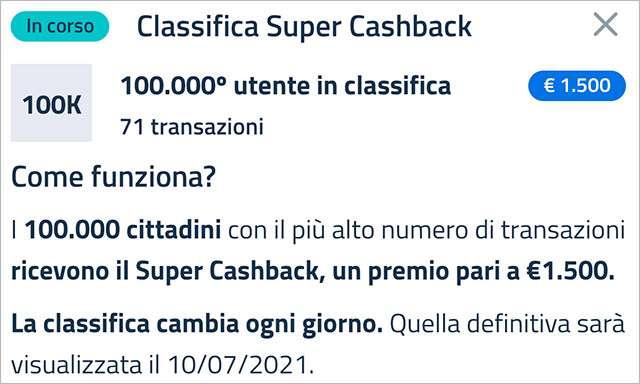 Super Cashback: la classifica aggiornata a venerdì 12 febbraio 2021 con il numero minimo di transazioni necessario per accedere al bonus