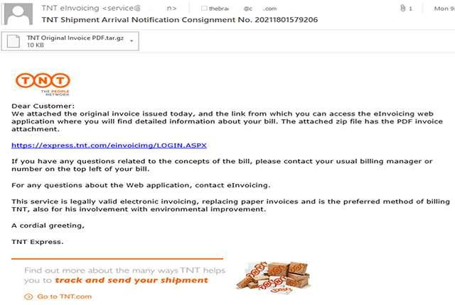 Un'email di phishing che simula una comunicazione da TNT