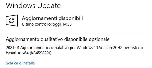 L'aggiornamento KB4598291 per Windows 10