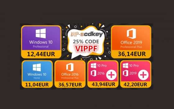 Sconti VIP-SCDkey: Windows 10 PRO a 12€, Office 2019 a 36€