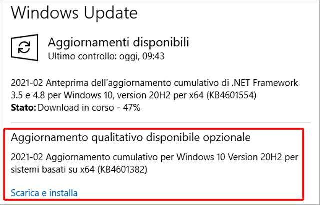 L'aggiornamento KB4601382 per Windows 10